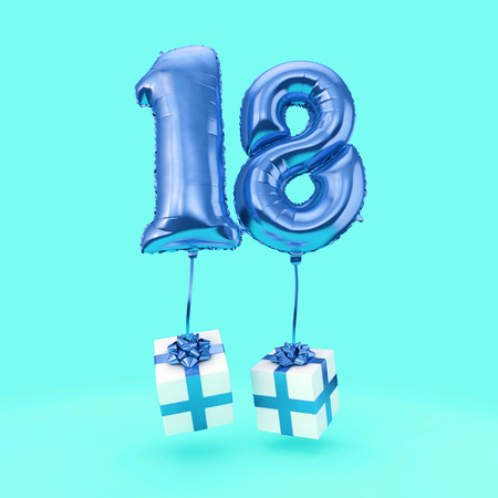 Number 18 birthday celebration foil helium balloon with presents. 3D Render
