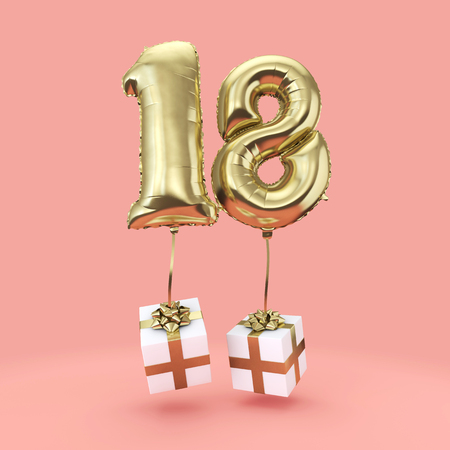 Number 18 birthday celebration gold foil helium balloon with presents. 3D Render