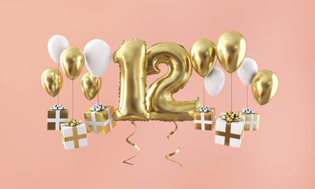 Number 12 birthday celebration gold balloon with presents. 3D Render