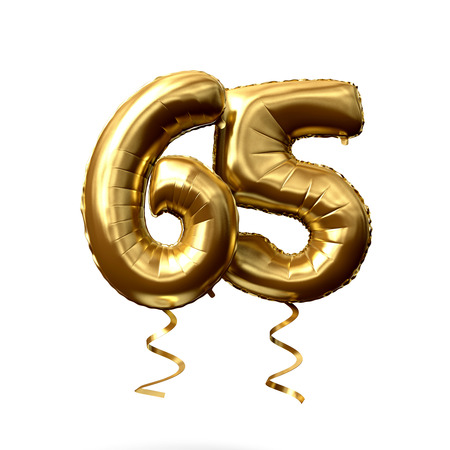 Number 65 gold foil helium balloon isolated on a white background. 3D Render 스톡 콘텐츠