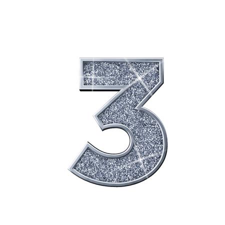 Srebrny brokat numer 3. Błyszczący musujący numer. renderowanie 3D