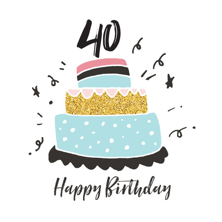 40th birthday hand drawn cake birthday card Stok Fotoğraf