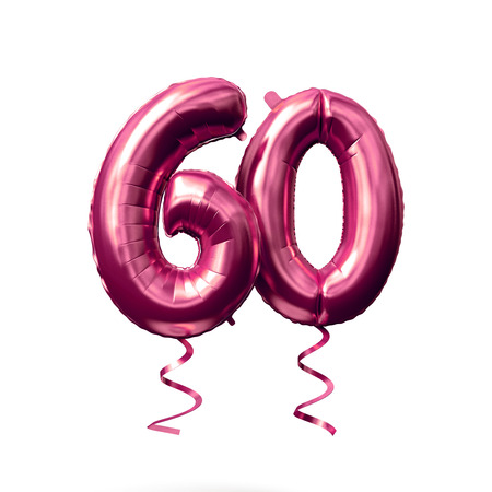 Number 60 rose gold helium balloon isolated on a white background. 3D Render Фото со стока