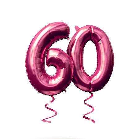 Nummer 60 Roségold Heliumballon isoliert auf weißem Hintergrund. 3D-Rendering Standard-Bild