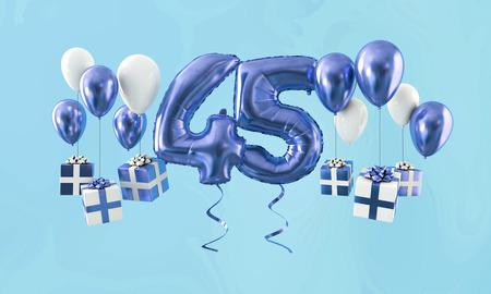 45번 생일 축하 금 풍선 선물. 3D 렌더 스톡 콘텐츠