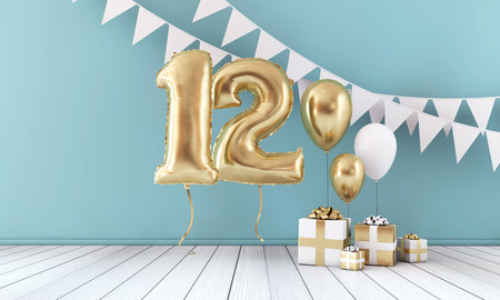 Happy 12th birthday party celebration balloon, bunting and gift box. 3D Render
