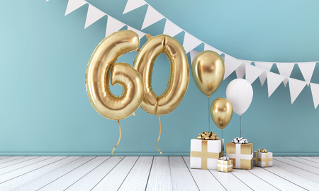 Happy 60th birthday party celebration balloon, bunting and gift box. 3D Render Stock Photo