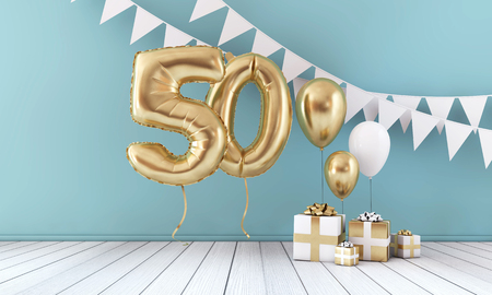 Happy 50th birthday party celebration balloon, bunting and gift box. 3D Render Stock Photo