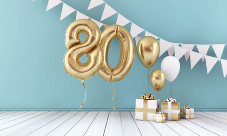 Happy 80th birthday party celebration balloon, bunting and gift box. 3D Render