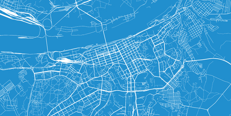 Urban vector city map of Perm, Russia
