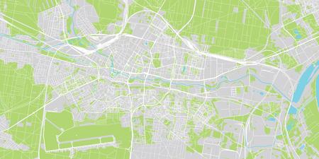 Urban vector city map of Bydgoszcz, Poland
