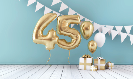 Happy 45th birthday party celebration balloon, bunting and gift box. 3D Render