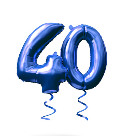 Number 40 blue foil helium balloon isolated on a white background. 3D Render Imagens