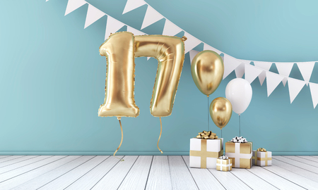 Happy 17th birthday party celebration balloon, bunting and gift box. 3D Render