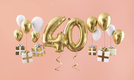 40번 생일 축하 금색 풍선 선물. 3D 렌더