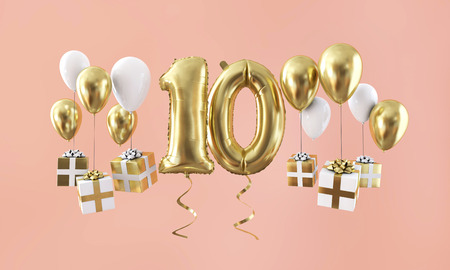 Number 10 birthday celebration gold balloon with presents. 3D Render Foto de archivo