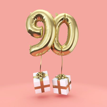 Number 90 birthday celebration gold foil helium balloon with presents. 3D Render