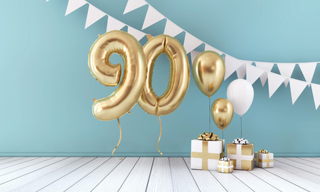 Happy 90th birthday party celebration balloon, bunting and gift box. 3D Render Stock Photo