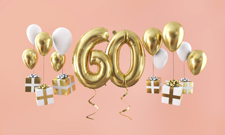 Number 60 birthday celebration gold balloon with presents. 3D Render