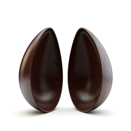Two halves of a chocolate easter egg split apart. 3D Render Stockfoto