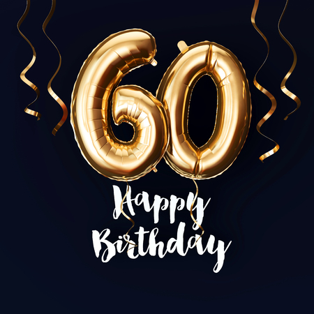 Happy 60th Birthday gold foil balloon background with ribbons. 3D Render