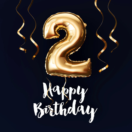 Happy 2nd Birthday gold foil balloon background with ribbons. 3D Render