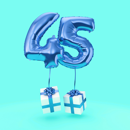 Number 45 birthday celebration foil helium balloon with presents. 3D Render