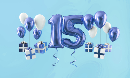 Number 15 birthday celebration gold balloon with presents. 3D Render