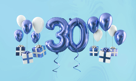 Number 30 birthday celebration gold balloon with presents. 3D Render