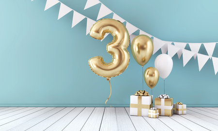 Happy 3rd birthday party celebration balloon, bunting and gift box. 3D Render Foto de archivo