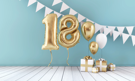 Happy 18th birthday party celebration balloon, bunting and gift box. 3D Render Foto de archivo