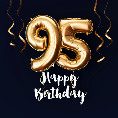 Happy 95th Birthday gold foil balloon background with ribbons. 3D Render