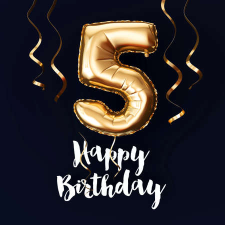 Happy 5th Birthday gold foil balloon background with ribbons. 3D Render