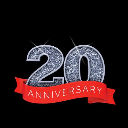 Number 20 silver sparkling anniversay celebration banner. 3D Render Banco de Imagens