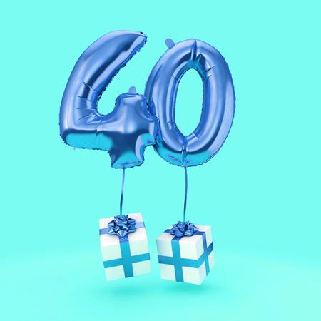 40번 생일 축하 호일 헬륨 풍선 선물. 3D 렌더