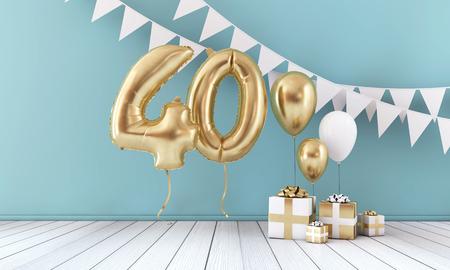 40 번째 생일 파티 축하 풍선, 깃발 천 및 선물 상자. 3D 렌더