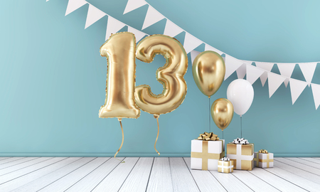 Happy 13th birthday party celebration balloon, bunting and gift box. 3D Render