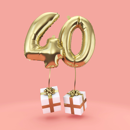 Number 40 birthday celebration gold foil helium balloon with presents. 3D Render