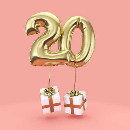 Number 20 birthday celebration gold foil helium balloon with presents. 3D Render