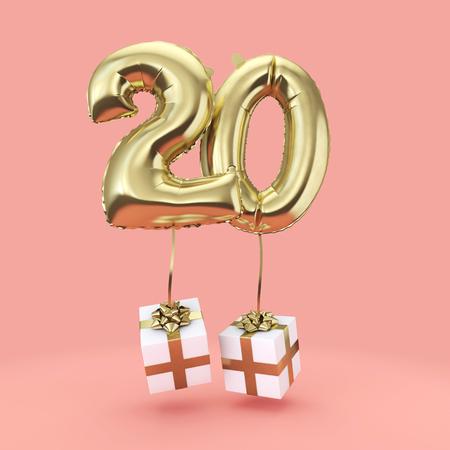 Numero 20 compleanno celebrazione palloncino elio lamina d'oro con regali. Rendering 3D