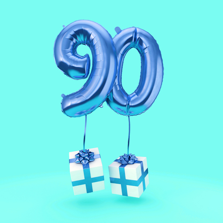 Number 90 birthday celebration foil helium balloon with presents. 3D Render