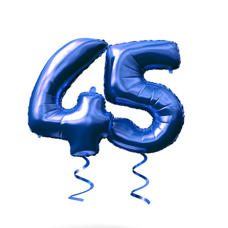 Number 45 blue foil helium balloon isolated on a white background. 3D Render