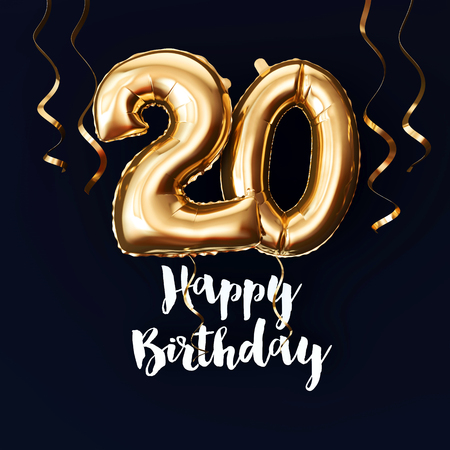 Happy 20th Birthday gold foil balloon background with ribbons. 3D Render Фото со стока