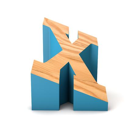 Letter X wooden angled font. 3D Rendering