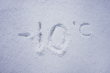 minus 10 degree celsius written into a snow background