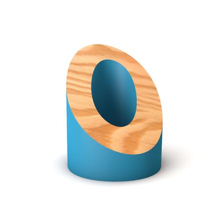 Letter O wooden angled font. 3D Rendering 写真素材