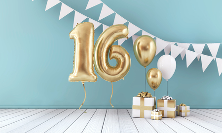 Happy 16th birthday party celebration balloon, bunting and gift box. 3D Render Foto de archivo
