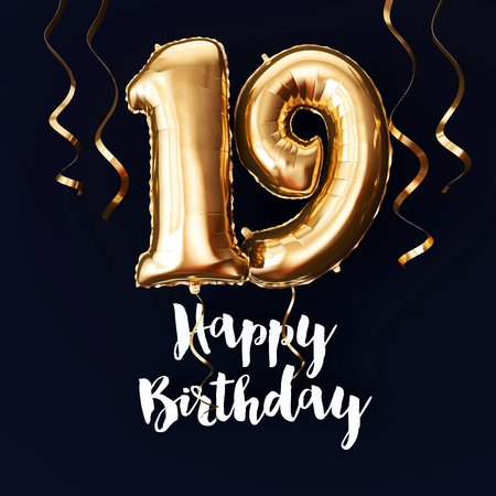 Happy 19th Birthday gold foil balloon background with ribbons. 3D Render