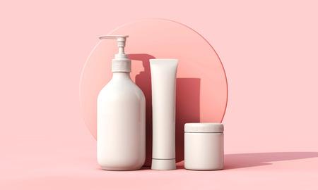 Lege witte cosmetische huidverzorging make-up containers. 3D-weergave