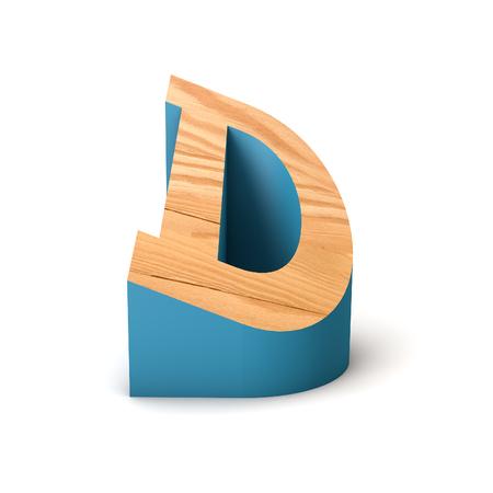 Letter D wooden angled font. 3D Rendering 写真素材 - 123937731